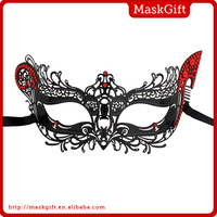 Gorgeous lady black venetian metal mask with crystals ME004-RBK