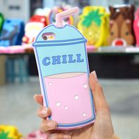 Custom Made 3D Cute Cartoon Cup High Density Soft Liquid Silicone Rubber Back Cover Bumper Cell Phone Case For Iphone