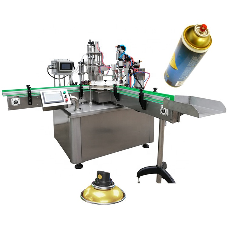 Full automatic snow spray aerosol filling capping machine