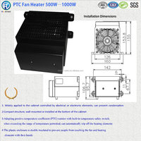 Electric PTC Fan heater 500W - 1000W with UL RoHS