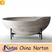 Customized natural stone shell shaped bathtub for hotel project NTS-BA042L