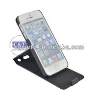new arrival pu leather 360 degree standing case for iphone 5
