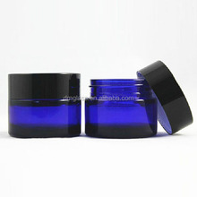 1 oz 2 oz 4oz empty cobalt blue glass jar with black lids