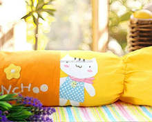 wholesale polyester colorful chinese long round candy shape pillow
