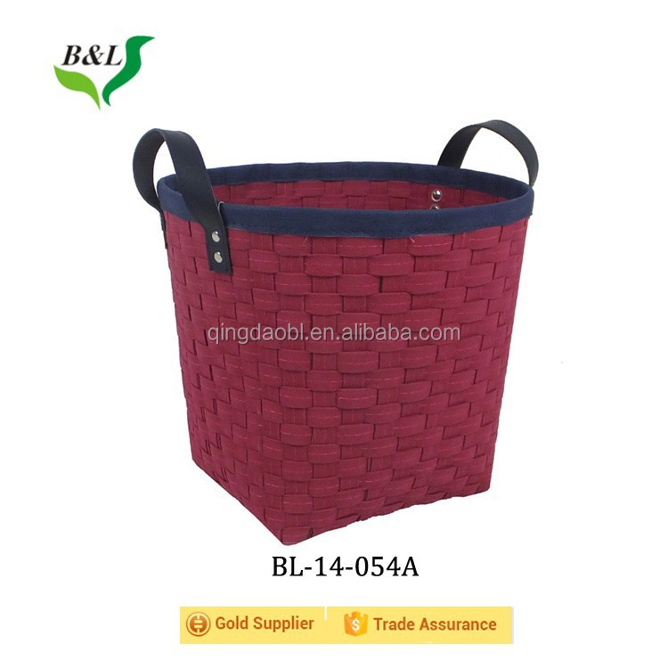 Round non-woven fiber woven storage basket with handles 14054