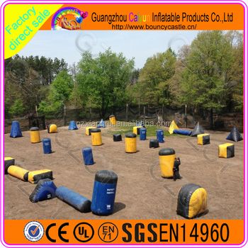 Outdoor team sports inflatable paintball field air bunkers equipment for Sale
