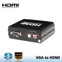 MINI VGA to HDMI Converter (Bypass), Support analog video output (VGA or YPbPr) VGA+R/L Radio Converter