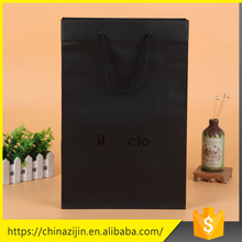 Professional made custom design recycleable high capacity exquisite shopping black paper bag