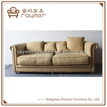 French restraurant furniture living room sofa antique linen tufted couch