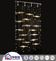 hotel led light fish chandelier with remote control