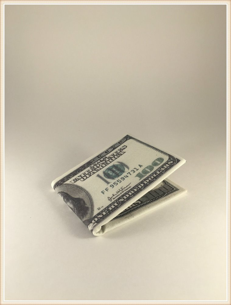 Canvas Wallet $100 Dollar Bill Money Bi-Fold $100 Print New