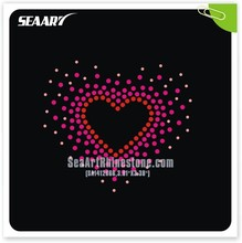 heart and random sequin scattered rhinestone heat transfer for t shirts