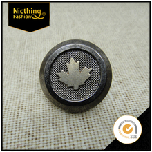 New Trend Fashion Retro Maple Leaf Shape Design Deepgrey Jean Button Plastic Push Button Screw Buttons NB050