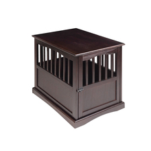 Gorgeous espresso color 100% solid wood pet crate end table for bedroom or living room