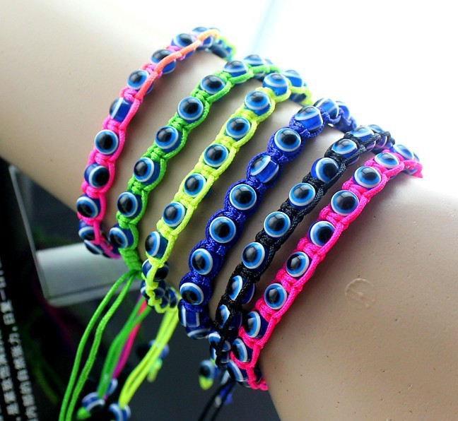 Attractive evil eyes bead bracelet braided bracelets with various colors