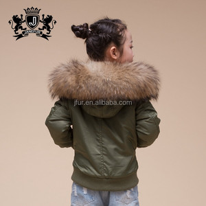 Chinese Wholesale Style New Kids Real Raccoon Fur Hooded Bomber Jacket