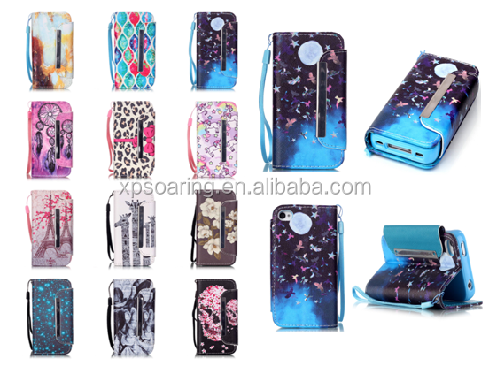 For iphone 4 insert 3 card PU leather cover case with metal clip