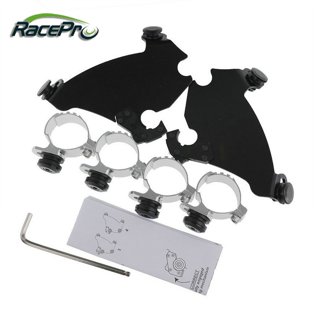 49mm Black Fork Bracket Gauntlet Fairing Trigger Lock Mount Kit For Harley Dyna