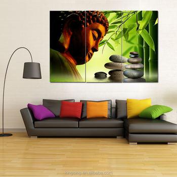 Wholesale High Quality Home Decor Frameless Canvas Painting 2017 New Design 3pcs Buddha Oil