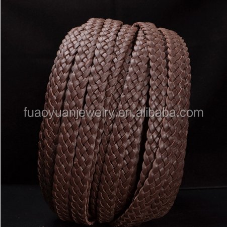 Factory Outlets OEM Brown Braided Flat Leather Cord Wholesale