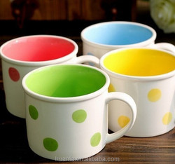 Best quality new product Inside solid color dots big mouth water mug,milk coffee mug
