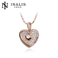 Attractive couple heart 18K crystal Gold fashion wholesale Valentine's Day necklace N124