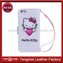 Hello Kitty Leather Wallet Case With Belt Clip For iPhone 5S 5C