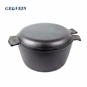6.9 Quart Pre Seasoned Cast Iron Dutch Oven with Dual Handle and Cover Casserole Dish