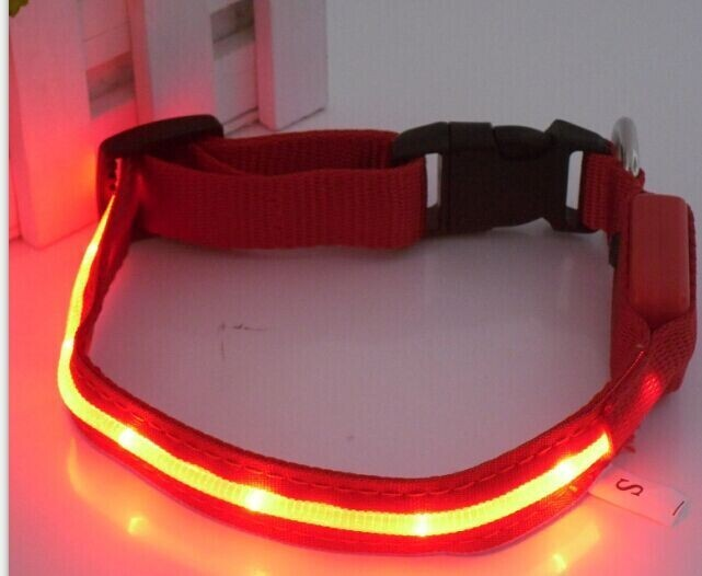 100%polyester LED dog collar with USB chargeable