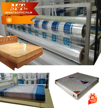 cheap blue soft PVC mattress packaging film/transparent PVC sheets