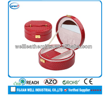 Fashion folding red leather travel jewelry case