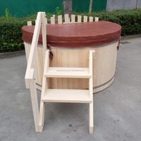 Comfortable wooden round hot tub with inner wood fired stove for sales