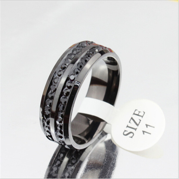 Yiwu Aceon Stainless steel fashion jewelry supplier finger black diamond ring