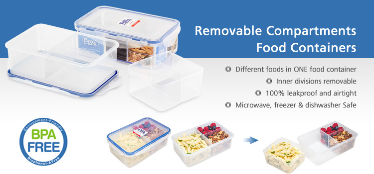 3 Compartment Microwave Reusable Plastic Food Storage Containers