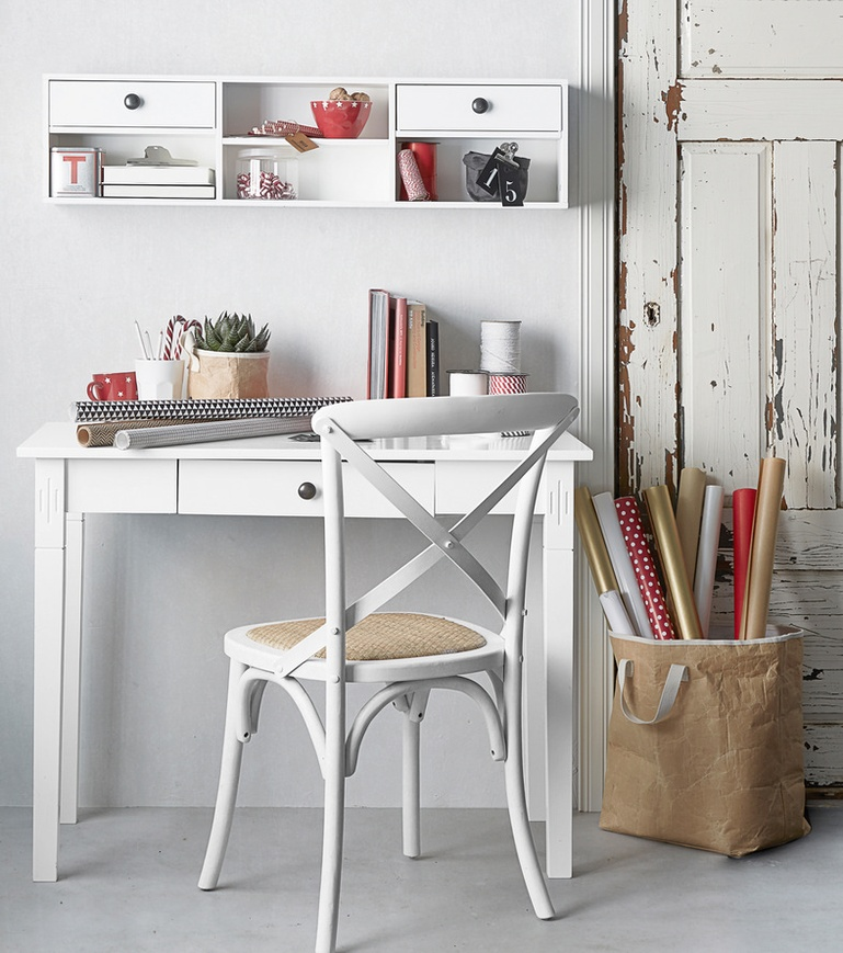 White wooden bookcase with study table designs 3 Drawer and 4 storage shelf