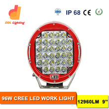 Red/Black Round 9'' 96W 100W Cr ee LED Driving Spot/Flood Work Light 4WD Offroad 12V 24V SAE LED Work Light