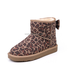High quality flat heel snow boot leopard bowknot women winter boot wholesale