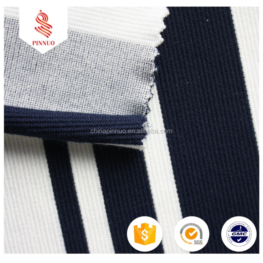 2016 hole sale T/R elastic yarn dye engineering big stripes ottoman knit fabric with spandex