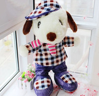 fashion lovely 20cm standing plush dog with clothes / plush toy