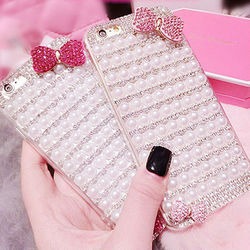 Wholesale 3D Fashion Back Cover Crystal Bling Beads Diamond Hard PC Phone Case For iPhone 6 iPhone 6 plus