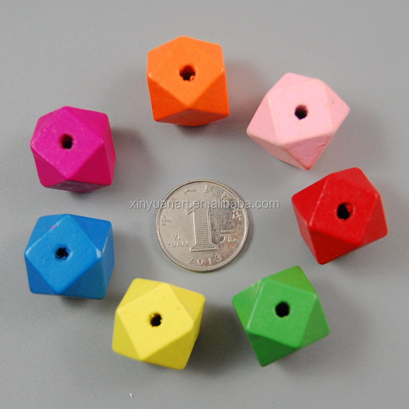 Wholesale colorful Wooden Hexagon Beads Solid Geometric Teething Beads