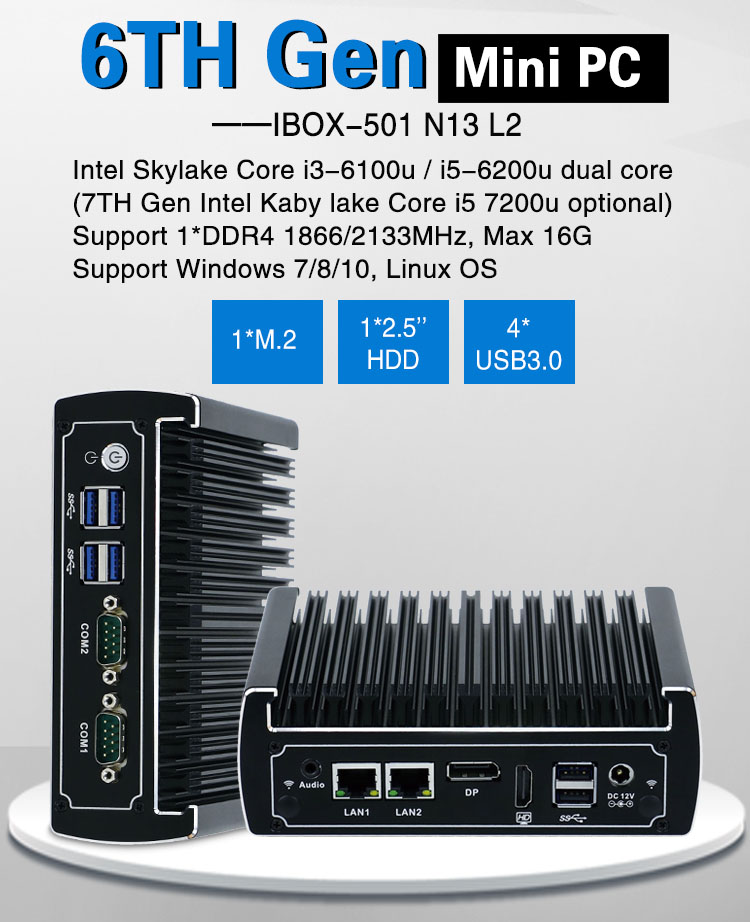 Fanless Nano pc intel skylake core i3 6100u mini computer with M.2 port DDR4 ram and 4 USB3.0