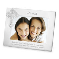 Wholesale Cross Design Engraved metal photo frame for Religious gifts for Christianity