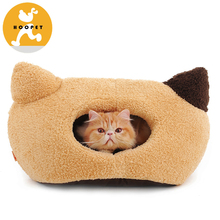 High Quality Removable Hot Sell Factory Supply Cute Cat Head Cat Dog Pet Cave Bed