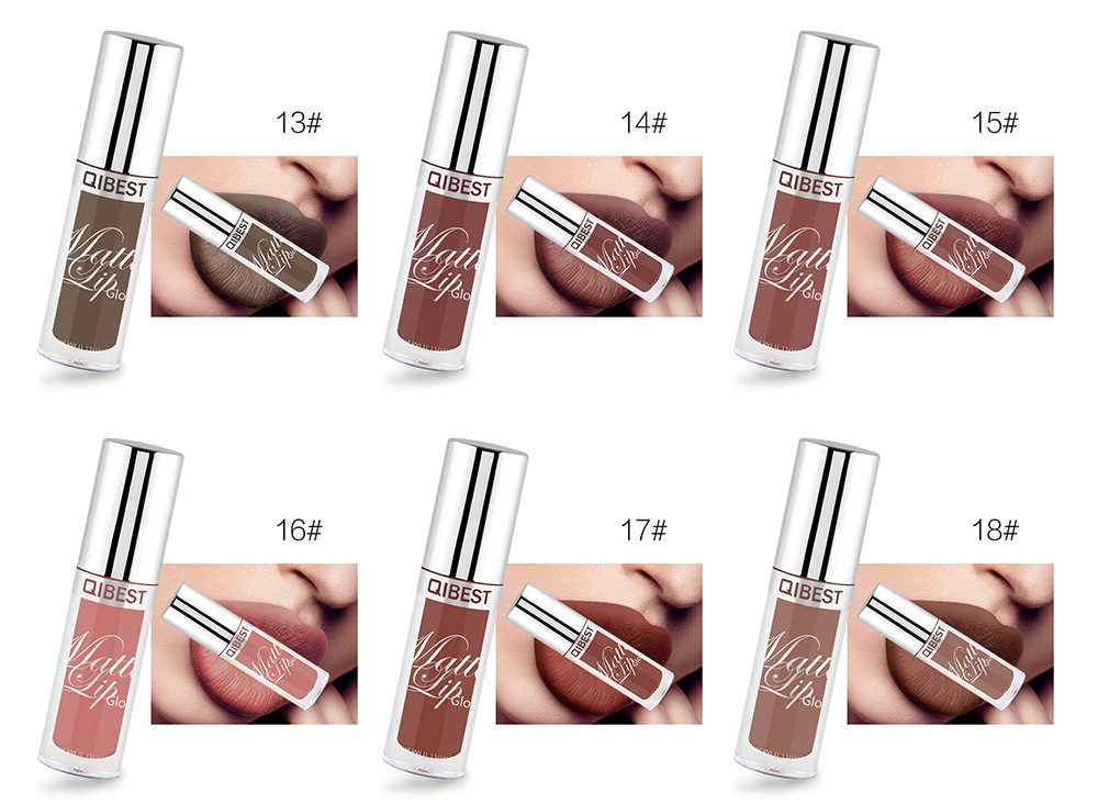 Qibest 24 Color Christmas Lip Sexy Matte Velvet Long Lasting Lipgloss Liquid Nude Lipstick Lip Cream Women Party Makeup