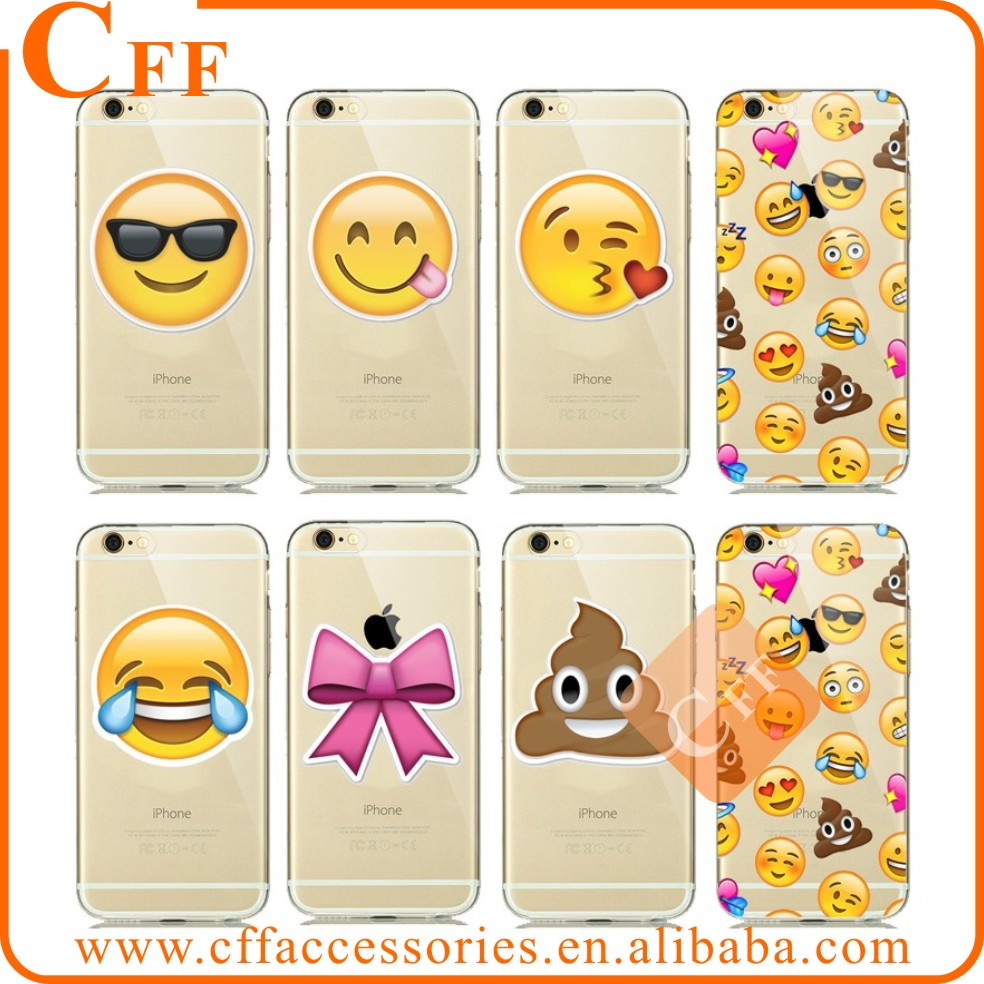 Fashion New Clear Transparent Silicone Soft Case Capa For iphone 5 5s 6 6s 6/6s plus Emoji Phone Cases Facebook Emotions Fundas