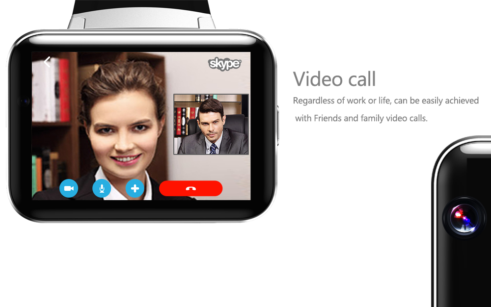 DM98 MTK6572 Dual Core Android 4.4 Single SIM 2.2 inch IPS Big Screen Video Call Watch Phone