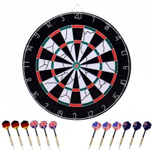 USA stock 18-inch Tournament Bristle Dartboard Double-sided Flocking Tip DartBoard with 12 Brass Darts