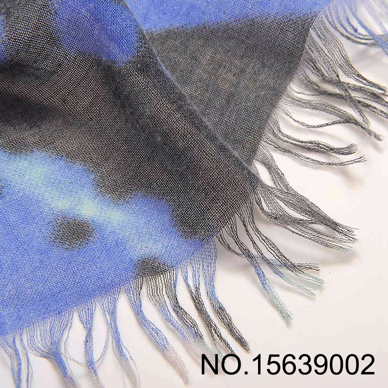 Blue Tassels Long Stripe Viscose Scarf