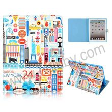 Cartoon Paiting Design Magnetic Folio Stand Leather Flip Case for iPad 2 /3/4